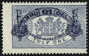 Sale Number 960, Lot Number 1310, Peru thru TriesteSWEDEN, 1889, 10o on 12o Blue, Official, Inverted Surcharge (O26a), SWEDEN, 1889, 10o on 12o Blue, Official, Inverted Surcharge (O26a)