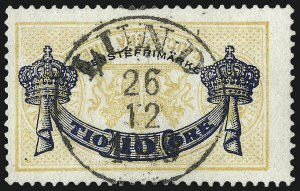 Sale Number 960, Lot Number 1311, Peru thru TriesteSWEDEN, 1889, 10o on 24o Yellow, Official, Inverted Surcharge (O27a), SWEDEN, 1889, 10o on 24o Yellow, Official, Inverted Surcharge (O27a)