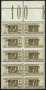 "Sale Number 960, Lot Number 1315, Peru thru TriesteTRIESTE ZONE ""A"", 1949-53, 1l Yellow Brown, Parcel Post, ""Skipped"" Comb Perforation (Sassone PP13q), TRIESTE ZONE ""A"", 1949-53, 1l Yellow Brown, Parcel Post, ""Skipped"" Comb Perforation (Sassone PP13q)"