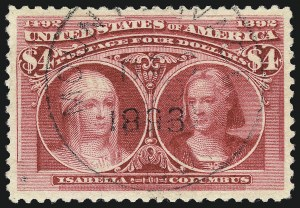 Sale Number 961, Lot Number 115, Columbian Issue$4.00 Columbian (244), $4.00 Columbian (244)