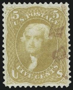 Sale Number 961, Lot Number 41, 1861-66 Issue5c Brown Yellow (67a), 5c Brown Yellow (67a)