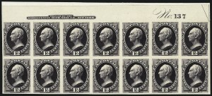 Sale Number 962, Lot Number 2113, Essays, Proofs and Specimens (1870-93 Bank Note Issues)12c Blackish Violet, Plate Proof on India (162P3), 12c Blackish Violet, Plate Proof on India (162P3)