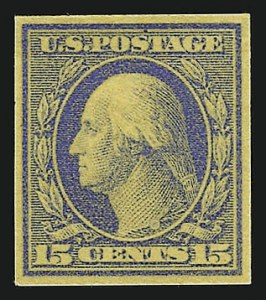 Sale Number 962, Lot Number 2140, Essays, Proofs and Specimens (Later Issues)15c Ultramarine on Yellow, Large Die Trial Color Proof on Wove (340TC1), 15c Ultramarine on Yellow, Large Die Trial Color Proof on Wove (340TC1)