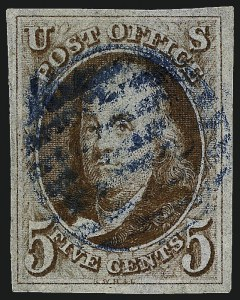 Sale Number 962, Lot Number 2216, 1847 Issue (Scott 1-4)5c Brown Orange (1b), 5c Brown Orange (1b)