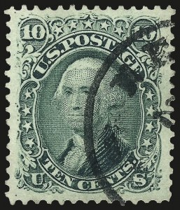 Sale Number 962, Lot Number 2327, 1861-66 Issue (Scott 62B-78)10c Yellow Green (68), 10c Yellow Green (68)