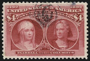 Sale Number 962, Lot Number 2528, Columbian Issue (Scott 230-245)$4.00 Columbian (244), $4.00 Columbian (244)