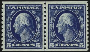 Sale Number 962, Lot Number 2732, 1912-23 Issues (Scott 405-524)5c Blue, Coil (447), 5c Blue, Coil (447)
