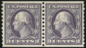 Sale Number 962, Lot Number 2741, 1912-23 Issues (Scott 405-524)3c Violet, Coil (456), 3c Violet, Coil (456)