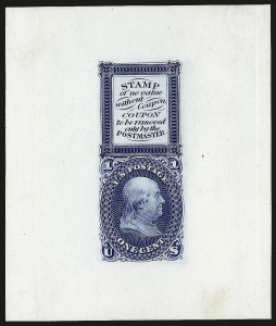 Sale Number 963, Lot Number 455, 1861-66 Issue Essays and Proofs1c Blue, Bowlsby Patent Coupon Die Essay on White Glazed Paper (63-E13b), 1c Blue, Bowlsby Patent Coupon Die Essay on White Glazed Paper (63-E13b)