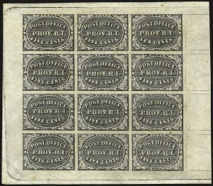 Sale Number 963, Lot Number 9, Postmasters ProvisionalsProvidence R.I., 5c & 10c Gray Black, Se-Tenant (10X2a), Providence R.I., 5c & 10c Gray Black, Se-Tenant (10X2a)