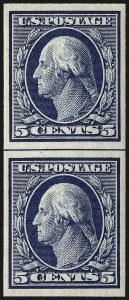 Sale Number 963, Lot Number 941, 1908-12 Issues (Scott 343-356)5c Blue, Imperforate Coil (347V), 5c Blue, Imperforate Coil (347V)