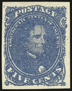 Sale Number 964, Lot Number 333, Confederate States General Issues5c Blue, Stone 2 (4), 5c Blue, Stone 2 (4)