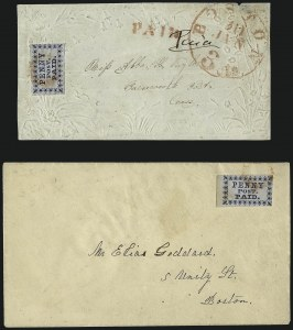 Sale Number 965, Lot Number 1016, Boston, MassachusettsBoston Mass., 1c Blue (3LB2), Boston Mass., 1c Blue (3LB2)