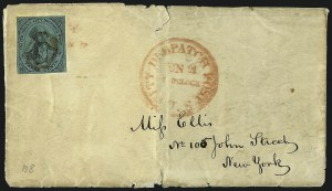 Sale Number 965, Lot Number 1028, New York, New YorkU.S. City Despatch Post, New York N.Y., 3c Black on Green Glazed (6LB5d), U.S. City Despatch Post, New York N.Y., 3c Black on Green Glazed (6LB5d)