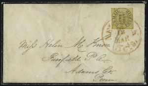 Sale Number 965, Lot Number 1030, New York, New YorkU.S. Mail, New York N.Y., 1c Black on Yellow, Buff Glazed (6LB10, 6LB11), U.S. Mail, New York N.Y., 1c Black on Yellow, Buff Glazed (6LB10, 6LB11)