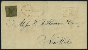 Sale Number 965, Lot Number 1054, 1844-45 Independent Mails (Hartford Mail Route thru Wyman)Hartford Mail Route, (5c) Black on Yellow Glazed (80L1), Hartford Mail Route, (5c) Black on Yellow Glazed (80L1)