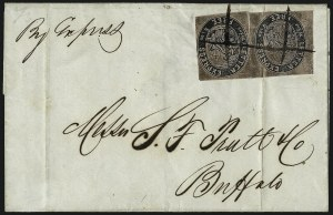 Sale Number 965, Lot Number 1055, 1844-45 Independent Mails (Hartford Mail Route thru Wyman)Letter Express (Wells), 5c Black on Pink Glazed (96L1), Letter Express (Wells), 5c Black on Pink Glazed (96L1)