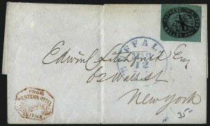 Sale Number 965, Lot Number 1056, 1844-45 Independent Mails (Hartford Mail Route thru Wyman)Letter Express (Wells), 5c Black on Green Glazed (96L2), Letter Express (Wells), 5c Black on Green Glazed (96L2)