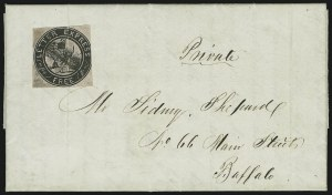 Sale Number 965, Lot Number 1057, 1844-45 Independent Mails (Hartford Mail Route thru Wyman)Letter Express (Wells), 10c Black on Pink Glazed (96L3), Letter Express (Wells), 10c Black on Pink Glazed (96L3)