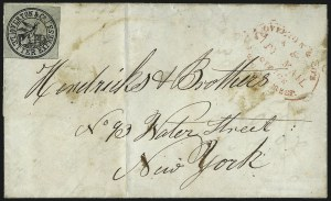 Sale Number 965, Lot Number 1060, 1844-45 Independent Mails (Hartford Mail Route thru Wyman)Overton & Co., (5c) Black on Greenish (113L1), Overton & Co., (5c) Black on Greenish (113L1)