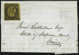 Sale Number 965, Lot Number 1061, 1844-45 Independent Mails (Hartford Mail Route thru Wyman)Pomeroy's Letter Express, 5c Black on Yellow Surface-Colored Paper (117L1), Pomeroy's Letter Express, 5c Black on Yellow Surface-Colored Paper (117L1)