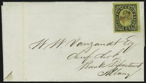 Sale Number 965, Lot Number 1062, 1844-45 Independent Mails (Hartford Mail Route thru Wyman)Pomeroy's Letter Express, (5c) Black on Yellow Surface-Colored Paper, Value Incomplete (117L2), Pomeroy's Letter Express, (5c) Black on Yellow Surface-Colored Paper, Value Incomplete (117L2)