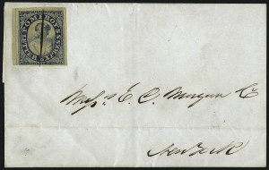 Sale Number 965, Lot Number 1063, 1844-45 Independent Mails (Hartford Mail Route thru Wyman)Pomeroy's Letter Express, 5c Blue on Thin Bond (117L3), Pomeroy's Letter Express, 5c Blue on Thin Bond (117L3)