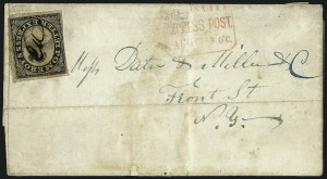 Sale Number 965, Lot Number 1064, 1844-45 Independent Mails (Hartford Mail Route thru Wyman)Pomeroy's Letter Express, 5c Black on Thin Bond (117L4), Pomeroy's Letter Express, 5c Black on Thin Bond (117L4)