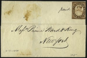 Sale Number 965, Lot Number 1066, 1844-45 Independent Mails (Hartford Mail Route thru Wyman)Pomeroy's Letter Express, 5c Lake on Thin Bond (117L6), Pomeroy's Letter Express, 5c Lake on Thin Bond (117L6)