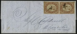 Sale Number 965, Lot Number 1067, 1844-45 Independent Mails (Hartford Mail Route thru Wyman)Pomeroy's Letter Express, 5c Orange-Red on Thin Bond (117L7), Pomeroy's Letter Express, 5c Orange-Red on Thin Bond (117L7)