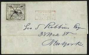Sale Number 965, Lot Number 1068, 1844-45 Independent Mails (Hartford Mail Route thru Wyman)W. Wyman, Boston Mass., 5c Black (149L1), W. Wyman, Boston Mass., 5c Black (149L1)