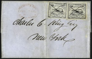 Sale Number 965, Lot Number 1069, 1844-45 Independent Mails (Hartford Mail Route thru Wyman)W. Wyman, Boston Mass., 5c Black (149L1), W. Wyman, Boston Mass., 5c Black (149L1)