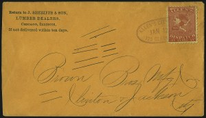Sale Number 965, Lot Number 1074, Local and Private Posts (Adams thru Berford)Allen's City Dispatch, Chicago Ill., (unstated value) Red on Yellow (3L3), Allen's City Dispatch, Chicago Ill., (unstated value) Red on Yellow (3L3)