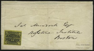 Sale Number 965, Lot Number 1076, Local and Private Posts (Adams thru Berford)Barnard's City Letter Express, Boston Mass., (unstated value) Black on Yellow Glazed (7L1), Barnard's City Letter Express, Boston Mass., (unstated value) Black on Yellow Glazed (7L1)