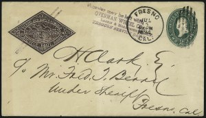 Sale Number 965, Lot Number 1082, Local and Private Posts (Bicycle Mail Route thru Blood)Bicycle Mail Route, Cal., 25c Brown Entire (12LU1), Bicycle Mail Route, Cal., 25c Brown Entire (12LU1)