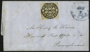 "Sale Number 965, Lot Number 1089, Local and Private Posts (Bicycle Mail Route thru Blood)D. O. Blood & Co., Philadelphia Pa., (1c) Black, ""For the Post Office"" (15L7), D. O. Blood & Co., Philadelphia Pa., (1c) Black, ""For the Post Office"" (15L7)"