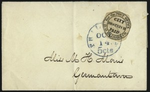 "Sale Number 965, Lot Number 1091, Local and Private Posts (Bicycle Mail Route thru Blood)D. O. Blood & Co., Philadelphia Pa., (1c) Black, ""For the Post Office"" (15L8), D. O. Blood & Co., Philadelphia Pa., (1c) Black, ""For the Post Office"" (15L8)"