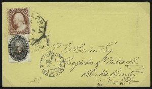 Sale Number 965, Lot Number 1102, Local and Private Posts (Bicycle Mail Route thru Blood)Blood's Penny Post, Philadelphia Pa., (1c) Black (15L18), Blood's Penny Post, Philadelphia Pa., (1c) Black (15L18)