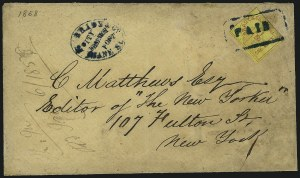 Sale Number 965, Lot Number 1133, Local and Private Posts (Brady thru Browns)Brady & Co., New York N.Y., 1c Red on Yellow (22L1), Brady & Co., New York N.Y., 1c Red on Yellow (22L1)