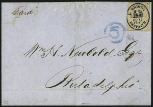 Sale Number 965, Lot Number 1134, Local and Private Posts (Brady thru Browns)Brigg's Despatch, Philadelphia Pa., (2c) Black on Rose (25L1), Brigg's Despatch, Philadelphia Pa., (2c) Black on Rose (25L1)