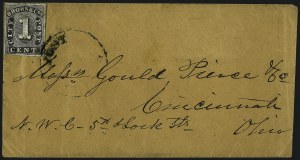 Sale Number 965, Lot Number 1141, Local and Private Posts (Brady thru Browns)Browne & Co.'s City Post Office, Cincinnati, 1c Black (29L1), Browne & Co.'s City Post Office, Cincinnati, 1c Black (29L1)