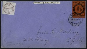 Sale Number 965, Lot Number 1142, Local and Private Posts (Brady thru Browns)Brown's City Post, New York N.Y., 1c Black on Bright Red (31L1), Brown's City Post, New York N.Y., 1c Black on Bright Red (31L1)