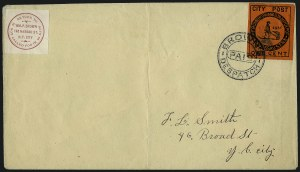 Sale Number 965, Lot Number 1145, Local and Private Posts (Brady thru Browns)Brown's City Post, New York N.Y., 1c Black on Vermilion (31L5), Brown's City Post, New York N.Y., 1c Black on Vermilion (31L5)