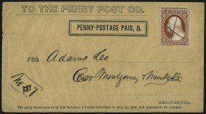Sale Number 965, Lot Number 1149, Local and Private Posts (California City Letter Express thru Cheever & Towle)California Penny Post Co., San Francisco, 5c Black on Buff Entire (34LU9), California Penny Post Co., San Francisco, 5c Black on Buff Entire (34LU9)
