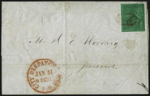 Sale Number 965, Lot Number 1156, Local and Private Posts (Griegs thru Cressman)(Mead's) City Despatch Post, New York N.Y., 2c Black on Green Glazed (40L2), (Mead's) City Despatch Post, New York N.Y., 2c Black on Green Glazed (40L2)