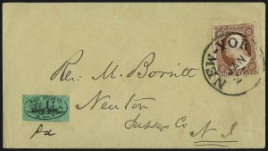 Sale Number 965, Lot Number 1179, Local and Private Posts (Dupuy thru Jabez Fearey)East River Post Office, New York N.Y., (1c) Black on Green Glazed (62L4), East River Post Office, New York N.Y., (1c) Black on Green Glazed (62L4)