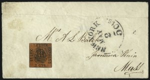 Sale Number 965, Lot Number 1180, Local and Private Posts (Dupuy thru Jabez Fearey)Essex Letter Express, New York N.Y., 2c Black on Red Glazed (65L1), Essex Letter Express, New York N.Y., 2c Black on Red Glazed (65L1)