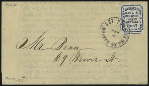 Sale Number 965, Lot Number 1203, Local and Private Posts (Husseys)Hussey's Post, New York N.Y., 1c Blue (87L14), Hussey's Post, New York N.Y., 1c Blue (87L14)