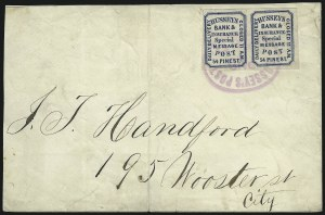 Sale Number 965, Lot Number 1207, Local and Private Posts (Husseys)Hussey's Post, New York N.Y., (unstated value) Blue, Wove (87L45), Hussey's Post, New York N.Y., (unstated value) Blue, Wove (87L45)