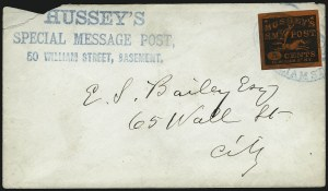 Sale Number 965, Lot Number 1209, Local and Private Posts (Husseys)Hussey's Post, New York N.Y., 5c Black on Red Glazed, Special Delivery (87LE1), Hussey's Post, New York N.Y., 5c Black on Red Glazed, Special Delivery (87LE1)
